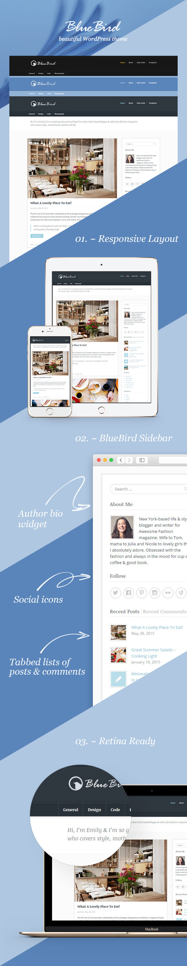 wordpress subcategory template - bluebird beautiful wordpress theme for personal blog