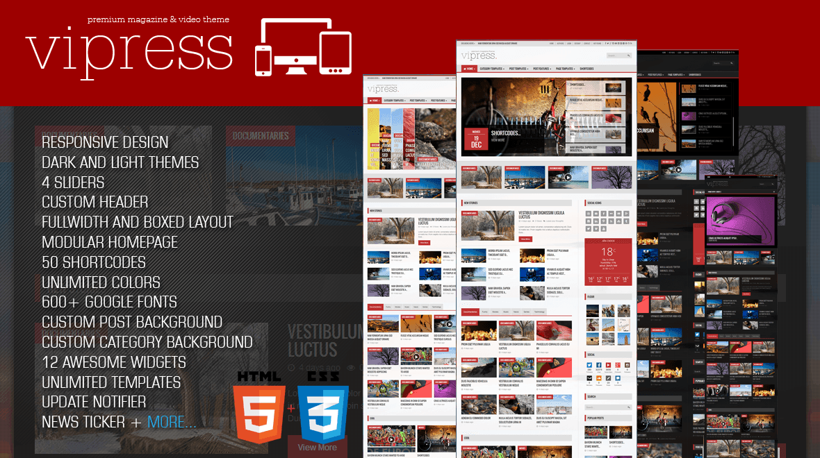 Vipress - Blog, Magazine and Video WordPress Theme - Themes & Templates