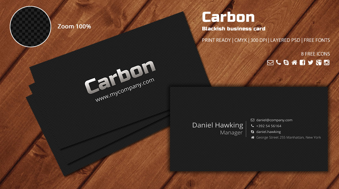 Carbon - Blackish Business Card - Logos & Graphics