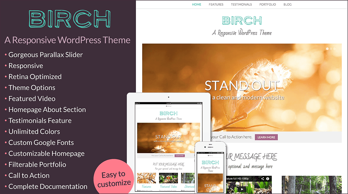 Birch a responsive wordpress theme themes templates 2711 sales pronofoot35fo Image collections