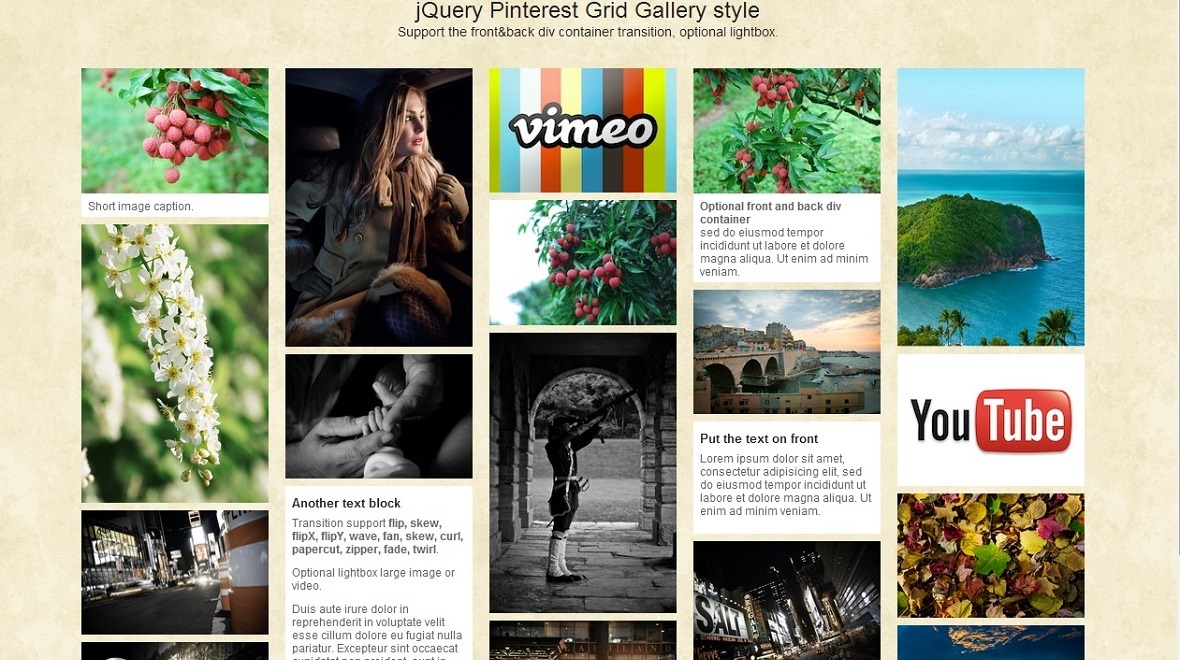 jQuery Pinterest Grid Gallery with LightBox