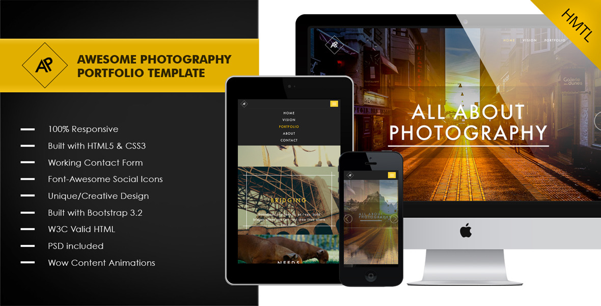 Awesome Photography Portfolio Template Themes Templates - Photography portfolio template