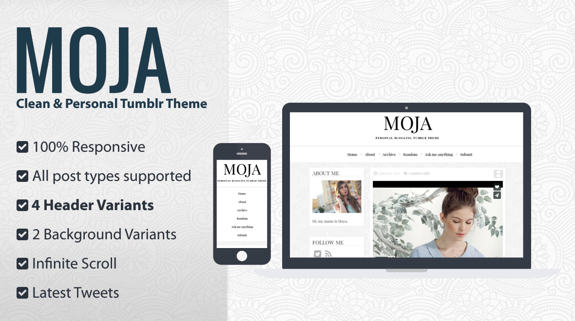 MOJA - Clean & Personal Tumblr Theme