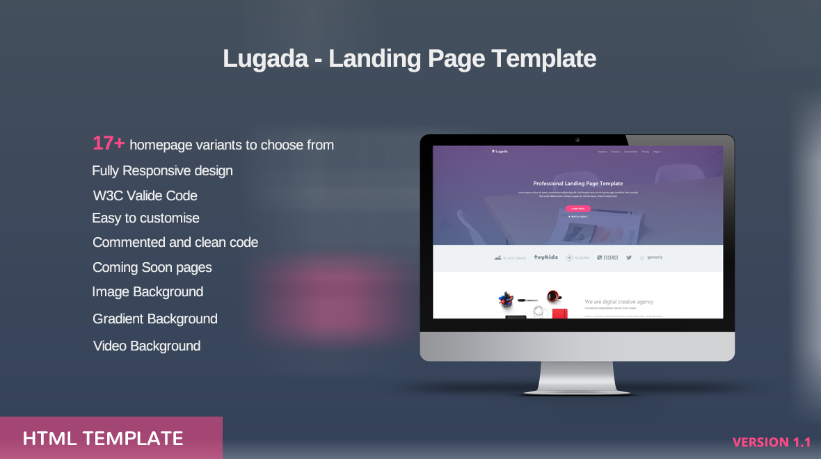 lugada html5 landing page template themes templates. Black Bedroom Furniture Sets. Home Design Ideas