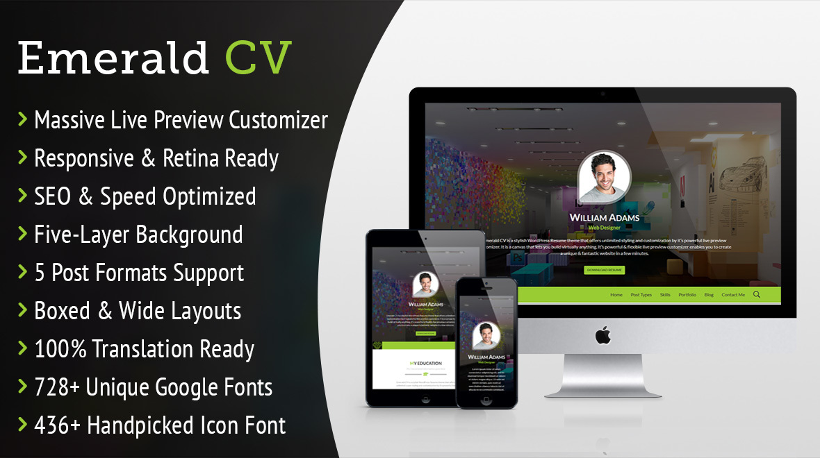 Emerald  Cv  UltraCustomizable Wordpress Resume Theme  Themes