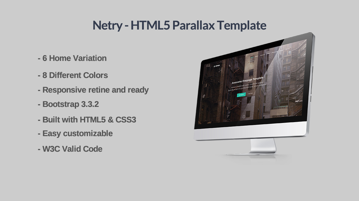 Netry html5 parallax template themes templates for Free html5 parallax scrolling template