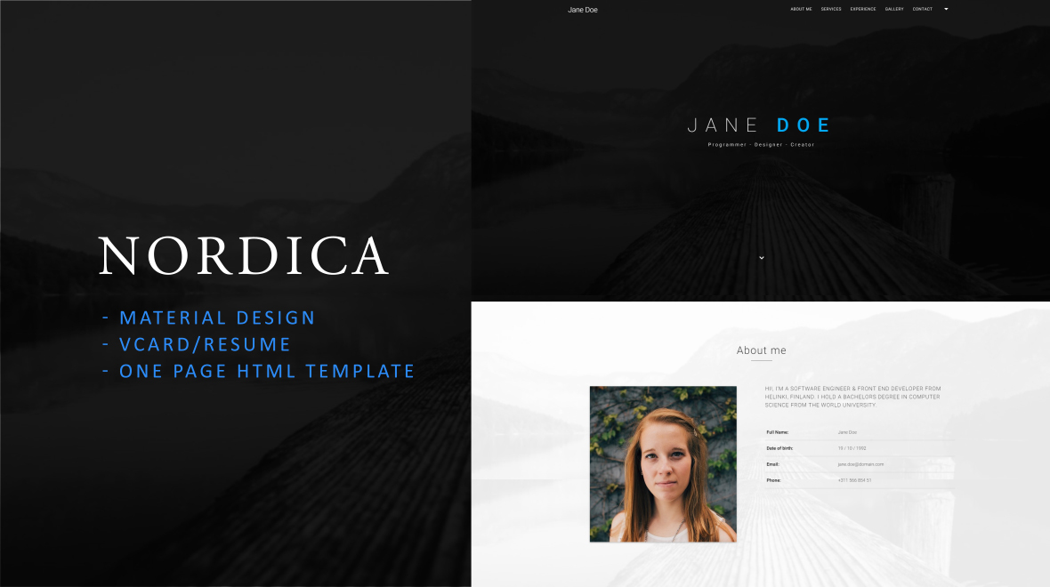 Nordica - Material Design Resume Template