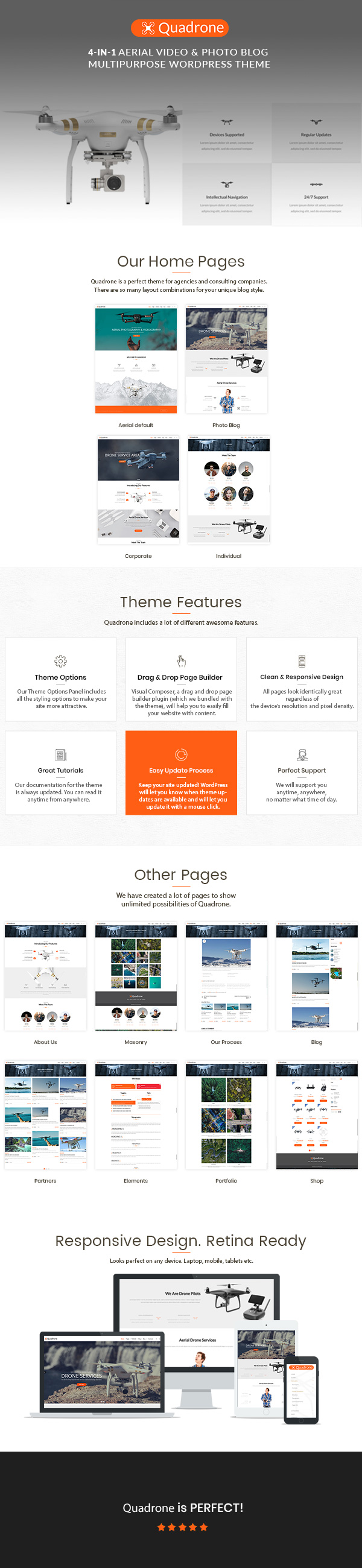 wordpress subcategory template - quadrone aerial photo video blog wordpress theme