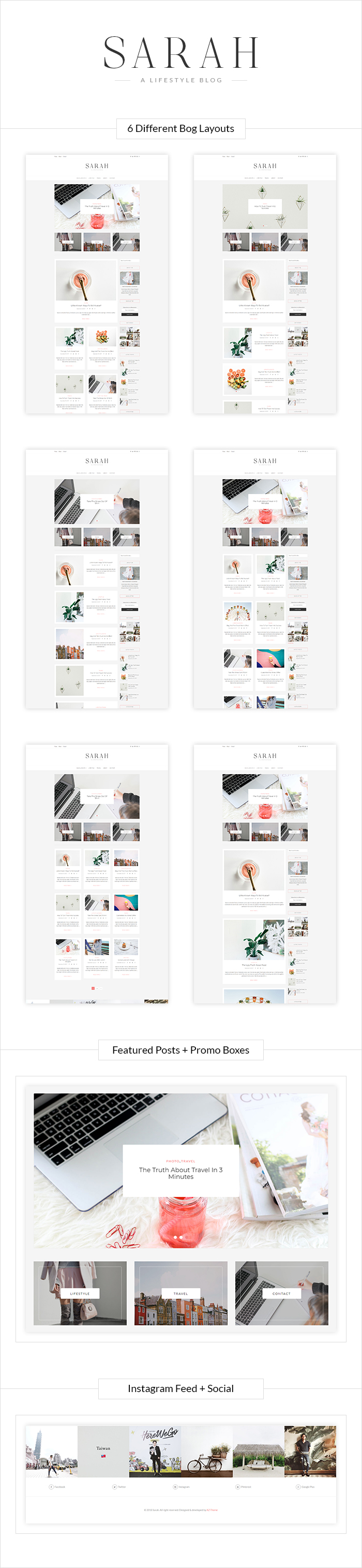 "Lifestyle WordPress Blog Theme ""Sarah"""