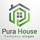 Pura House Logo, Letter P House Logo