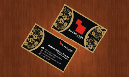 Black with gold floral business card