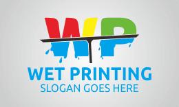 Wet Printing - Letter W P Logo